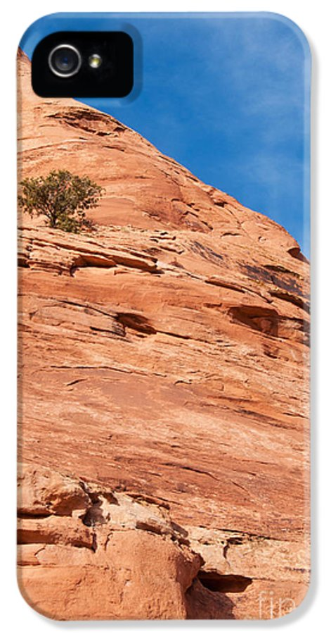 Red Rock IPhone 5 Case featuring the photograph All Alone by Bob and Nancy Kendrick
