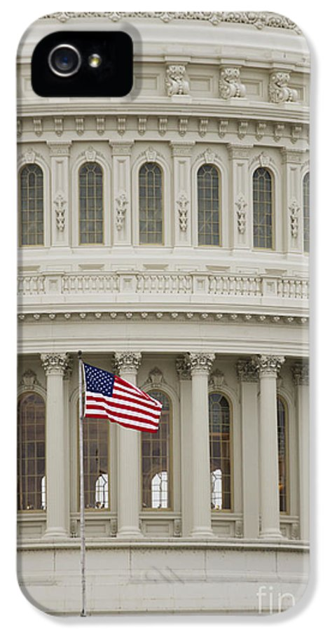 American Flag IPhone 5 Case featuring the photograph American Flag On The Capitol Building by Roberto Westbrook