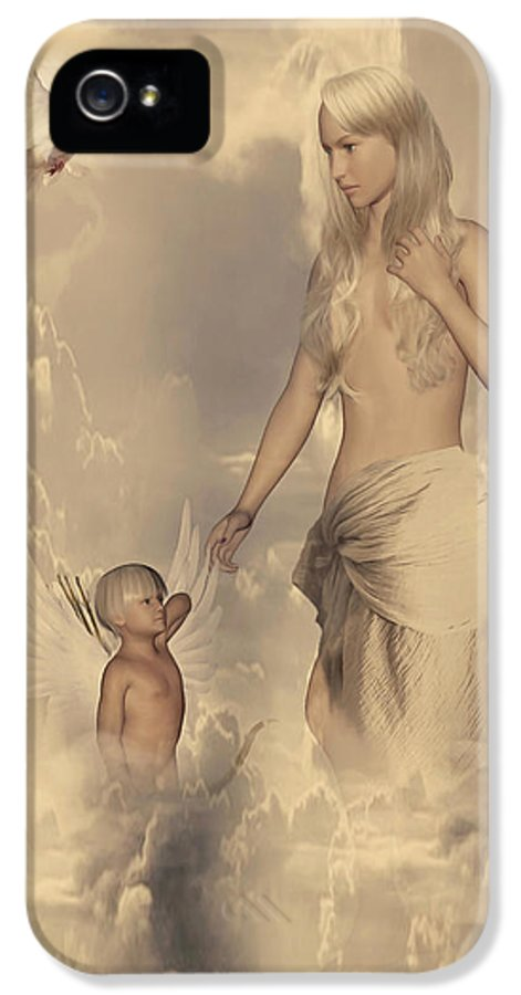 Aphrodite IPhone 5 Case featuring the digital art Aphrodite And Eros by Lourry Legarde