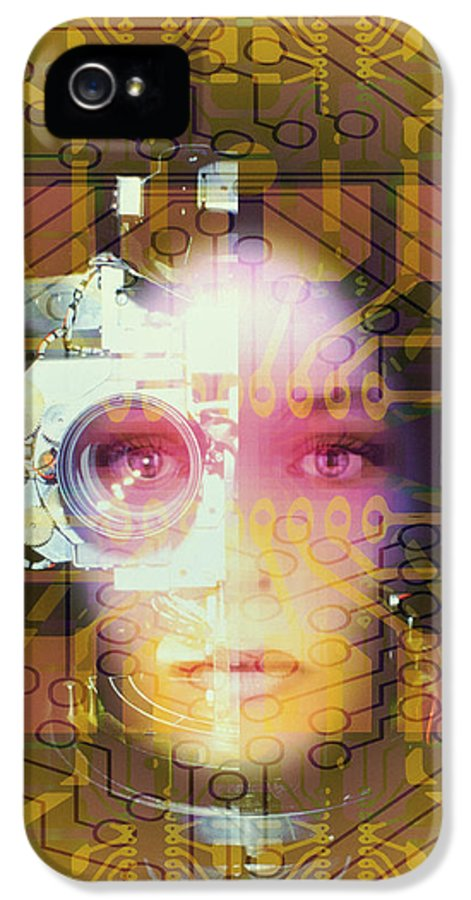 Circuit Board IPhone 5 Case featuring the photograph Artificial Intelligence: Face And Circuit Board by Mehau Kulyk