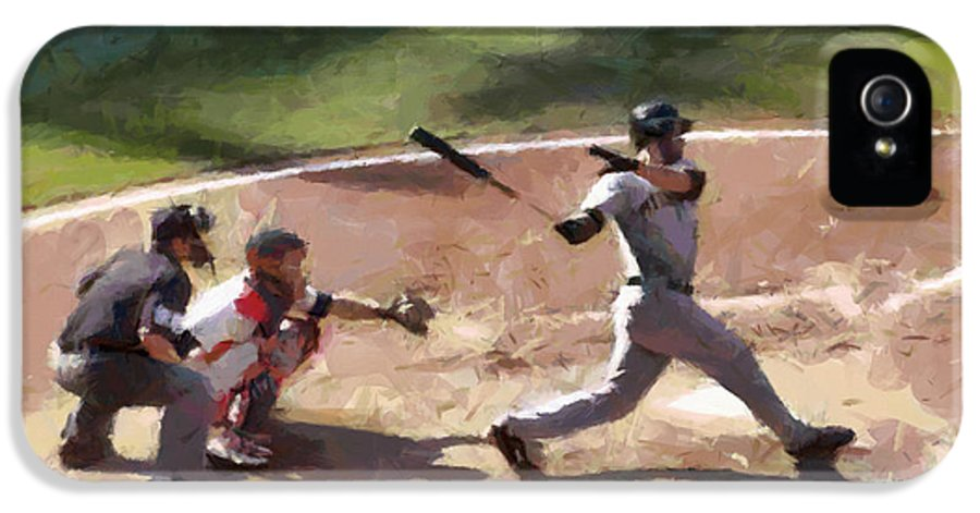 Baseball IPhone 5 Case featuring the painting At Bat by Lynne Jenkins