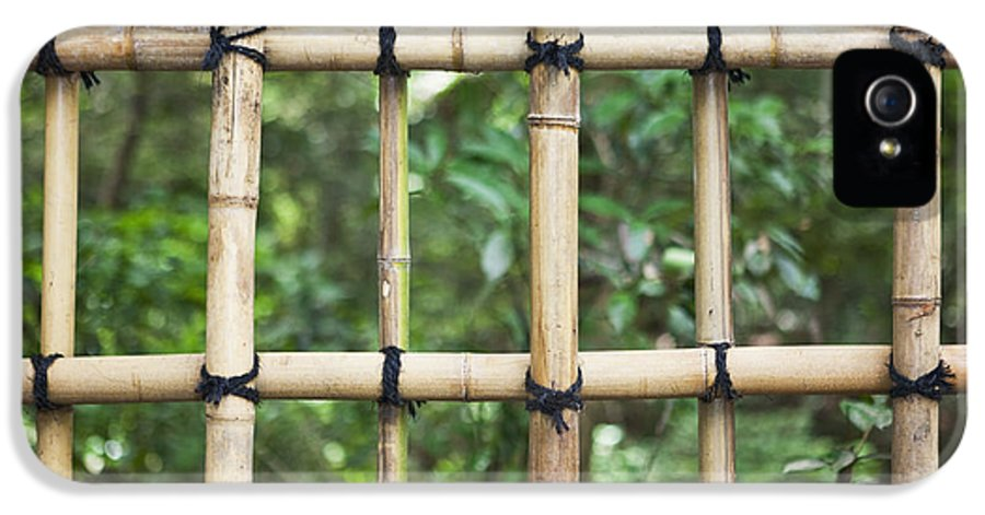 No People IPhone 5 Case featuring the photograph Bamboo Fence Detail Meiji Jingu Shrine by Bryan Mullennix