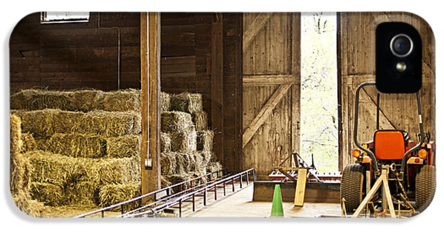 Barn IPhone 5 Case featuring the photograph Barn With Hay Bales And Farm Equipment by Elena Elisseeva