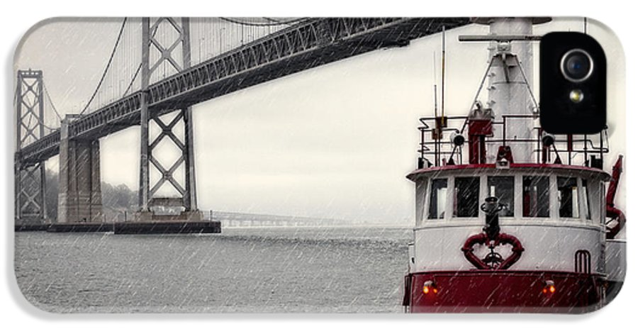 Bridge IPhone 5 Case featuring the photograph Bay Bridge And Fireboat In The Rain by Jarrod Erbe