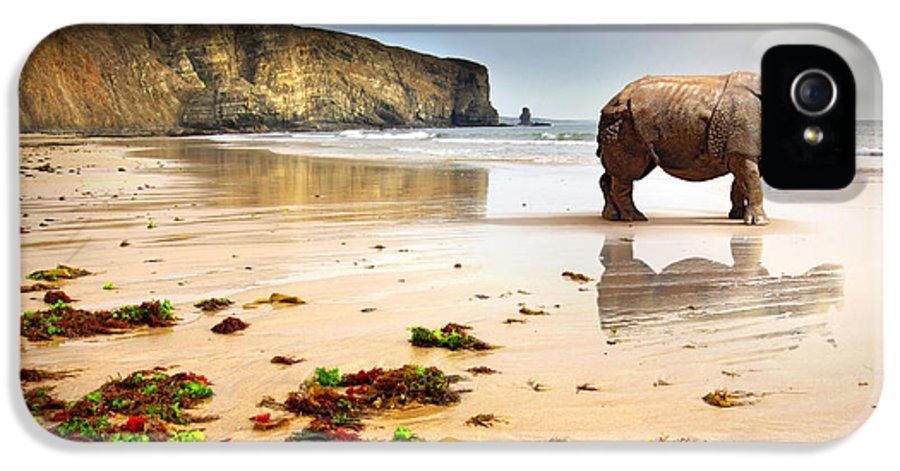 Africa IPhone 5 Case featuring the photograph Beach Rhino by Carlos Caetano