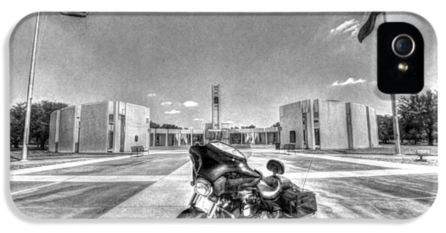 Patriot Guard Rider IPhone 5 Case featuring the photograph Black And White - Pgr At Houston National Cemetery by David Morefield
