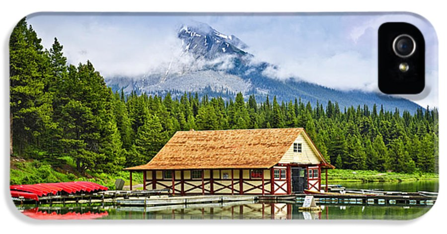 Boat House IPhone 5 Case featuring the photograph Boathouse On Mountain Lake by Elena Elisseeva