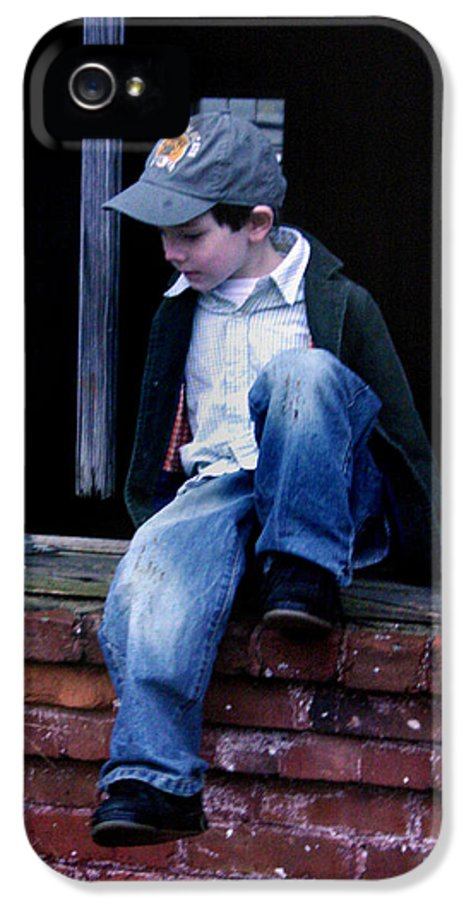 Mischief IPhone 5 Case featuring the photograph Boy In Window by Kelly Hazel