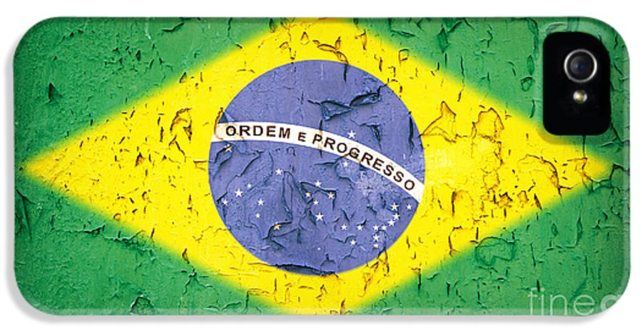 Aged IPhone 5 Case featuring the photograph Brazil Flag Vintage by Jane Rix