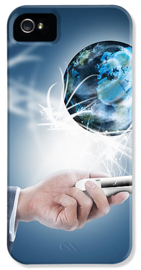 Blue IPhone 5 / 5s Case featuring the photograph Businessman Holding Mobile Phone With Globe by Setsiri Silapasuwanchai