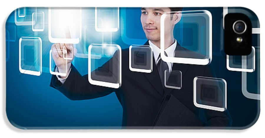 Business IPhone 5 Case featuring the photograph Businessman Pressing Touchscreen by Setsiri Silapasuwanchai