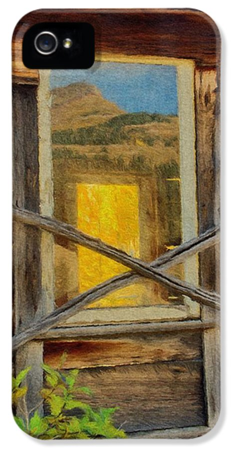 Cabin IPhone 5 Case featuring the painting Cabin Windows by Jeffrey Kolker
