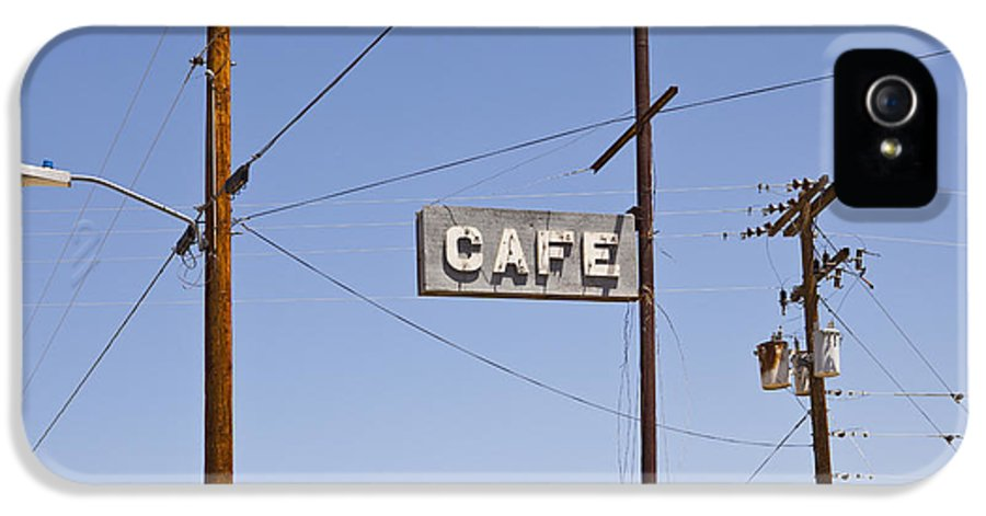 Looking IPhone 5 Case featuring the photograph Cafe Sign Power And Telephone Cables by Bryan Mullennix