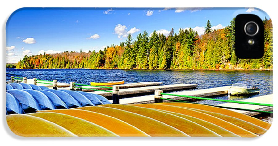 Canoes IPhone 5 Case featuring the photograph Canoes On Autumn Lake by Elena Elisseeva