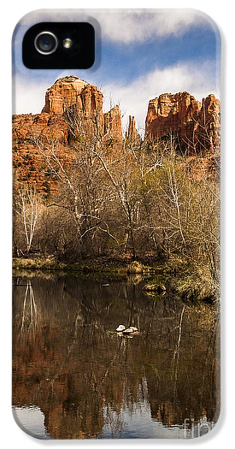 Cathedral Rock IPhone 5 Case featuring the photograph Cathedral Rock Reflections Portrait 1 by Darcy Michaelchuk