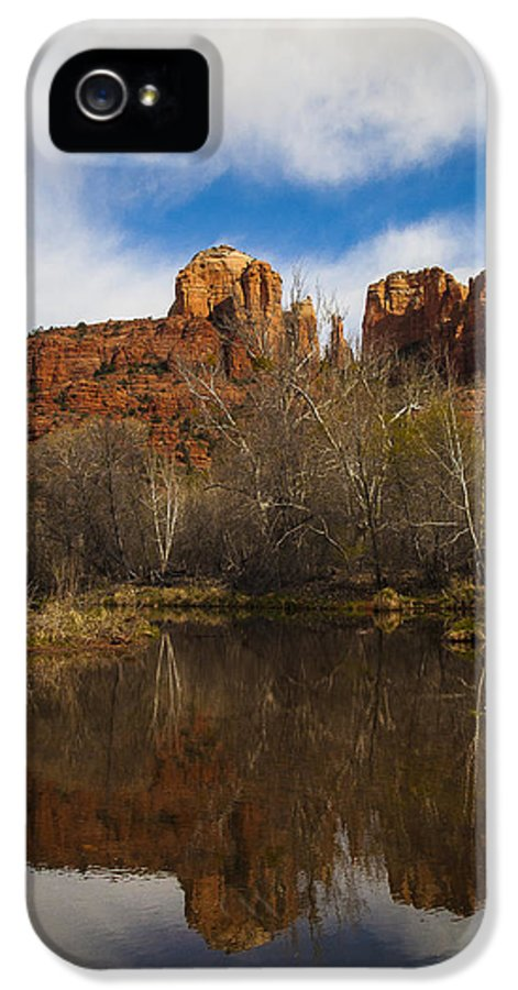 Cathedral Rock IPhone 5 Case featuring the photograph Cathedral Rock Reflections Portrait 2 by Darcy Michaelchuk