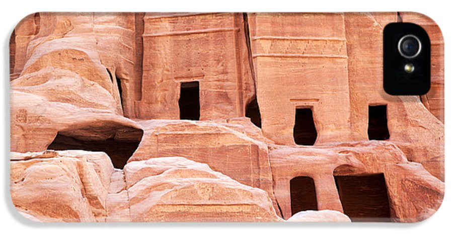 Ancient IPhone 5 Case featuring the photograph Cave Dwellings Petra. by Jane Rix