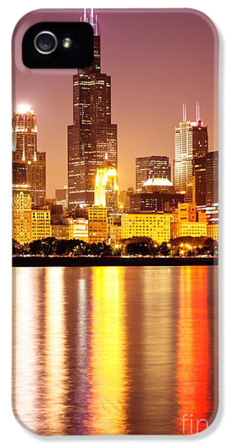 America IPhone 5 Case featuring the photograph Chicago At Night With Willis-sears Tower by Paul Velgos