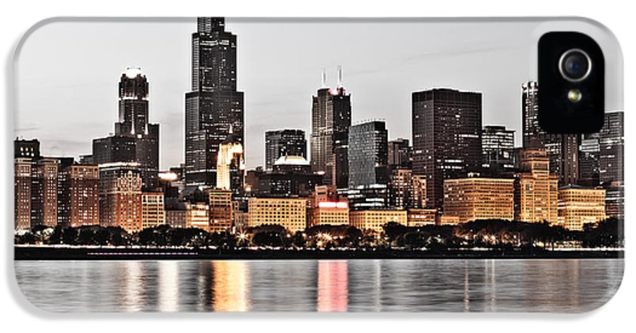 America IPhone 5 Case featuring the photograph Chicago Skyline At Dusk Photo by Paul Velgos