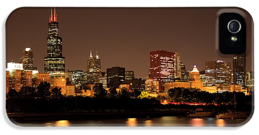 Chicago IPhone 5 Case featuring the photograph Chicago Skyline Downtown City Buildings At Night by Paul Velgos