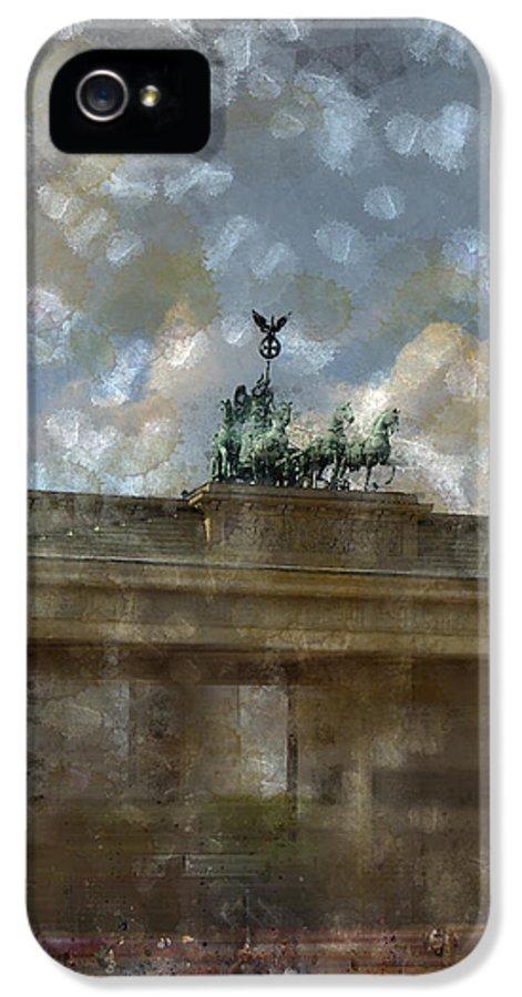 White IPhone 5 Case featuring the photograph City-art Berlin Brandenburger Tor II by Melanie Viola