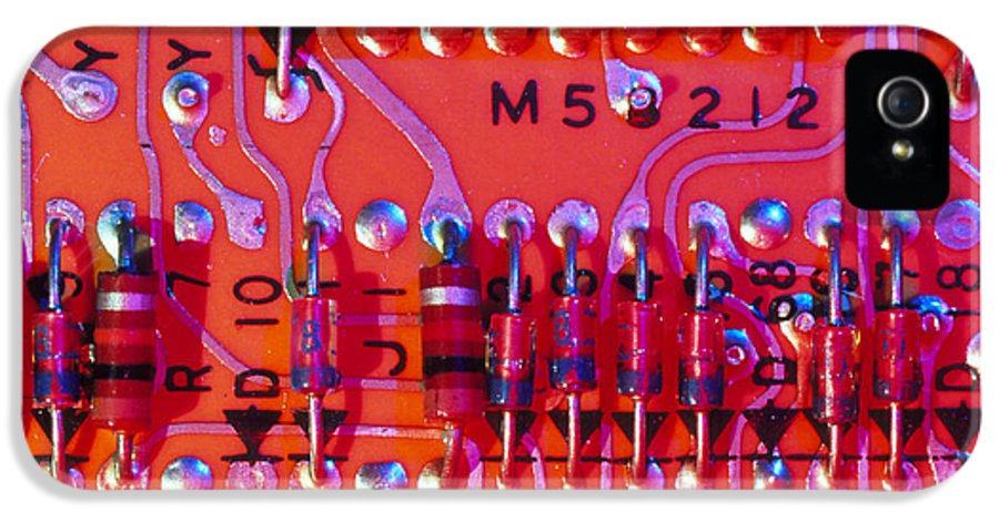 Circuit Board IPhone 5 Case featuring the photograph Close-up Of Printed Circuit Board by Pasieka