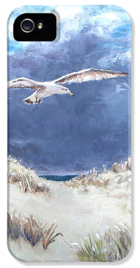 Seagull IPhone 5 Case featuring the painting Cloudy With A Chance Of Seagulls by Jack Skinner