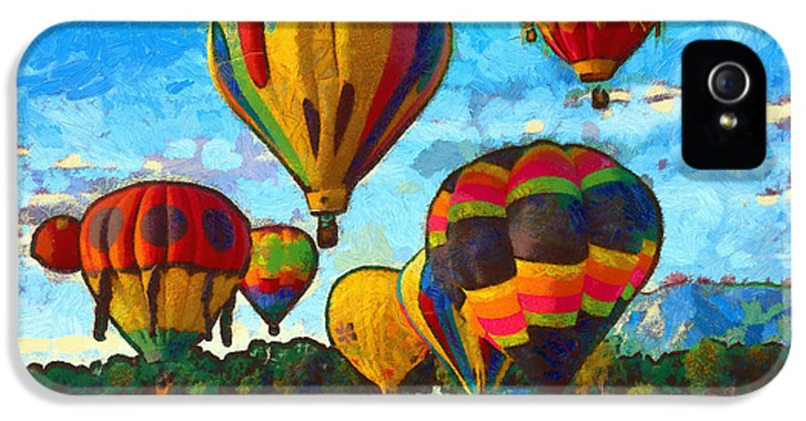 Hot Air Balloons IPhone 5 Case featuring the mixed media Colorado Springs Hot Air Balloons by Nikki Marie Smith