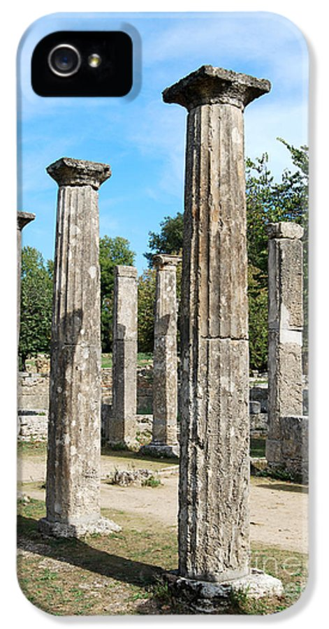 Columns At Olympia Greece IPhone 5 Case featuring the digital art Columns At Olympia Greece by Eva Kaufman