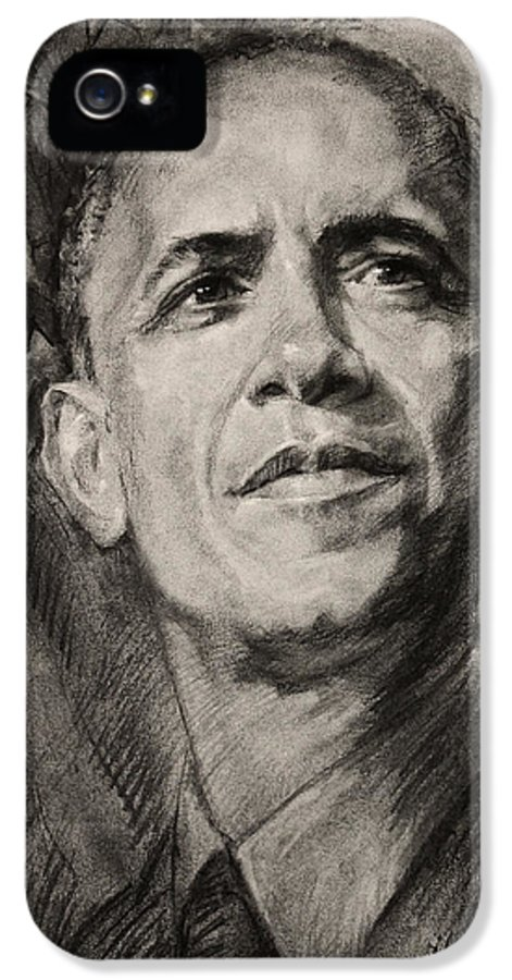 Barack Obama IPhone 5 Case featuring the drawing Commander-in-chief by Ylli Haruni