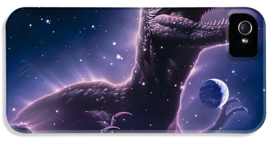 Dinosaur IPhone 5 Case featuring the photograph Conceptual Art Of A Ghostly Dinosaur Over The Moon by Joe Tucciarone