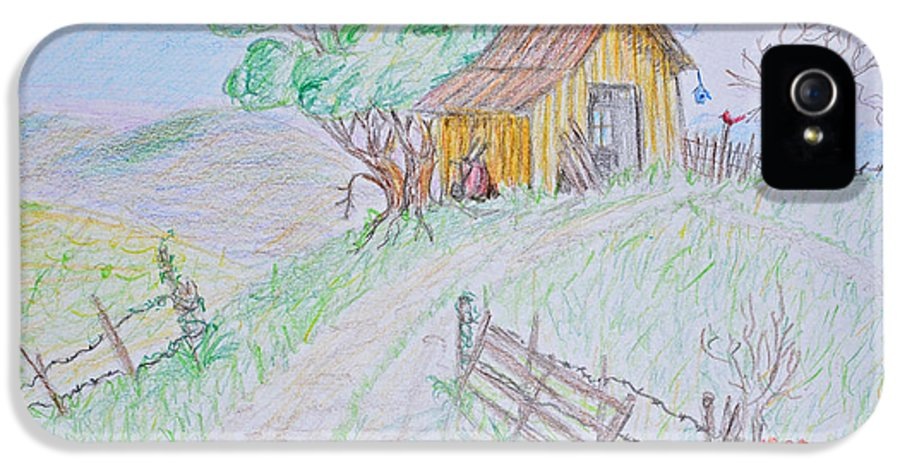 Nature IPhone 5 Case featuring the drawing Country Woodshed by Debbie Portwood