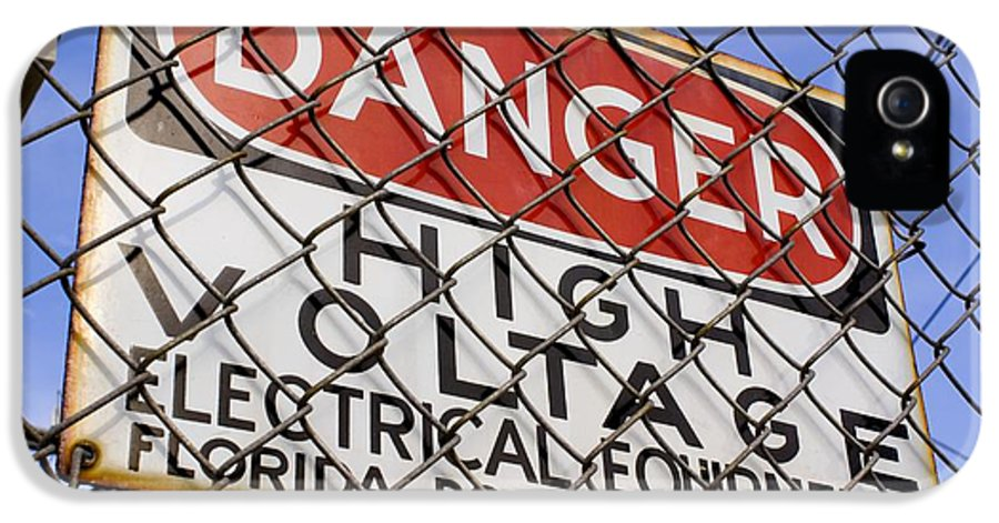 Cocoa IPhone 5 Case featuring the photograph Danger High Voltage Sign In Cocoa Florida by Mark Williamson