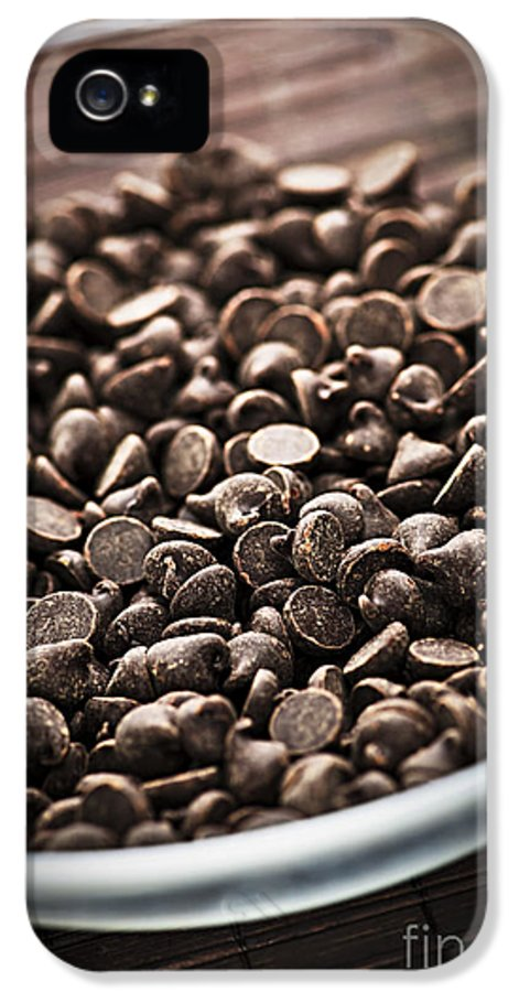 Chocolate IPhone 5 Case featuring the photograph Dark Chocolate Chips by Elena Elisseeva