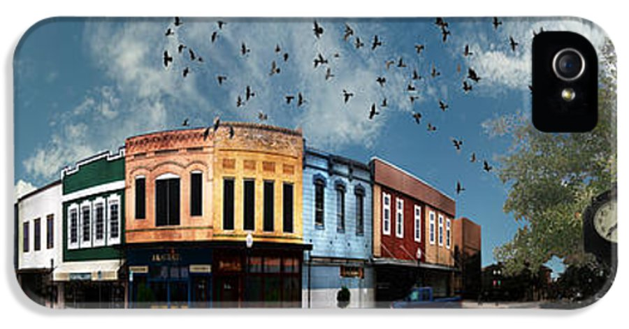 Bryan IPhone 5 Case featuring the digital art Downtown Bryan Texas 360 Panorama by Nikki Marie Smith