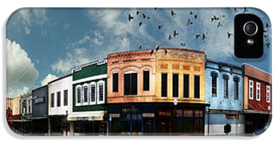 Bryan IPhone 5 Case featuring the photograph Downtown Bryan Texas Panorama 5 To 1 by Nikki Marie Smith