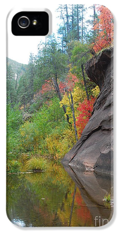 Sedona IPhone 5 / 5s Case featuring the photograph Fall Peeks From Behind The Rocks by Heather Kirk