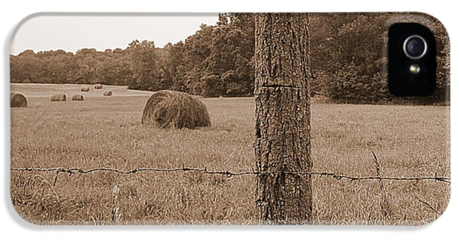 Barbed Wire IPhone 5 Case featuring the photograph Fence And Field by Sheila Harnett