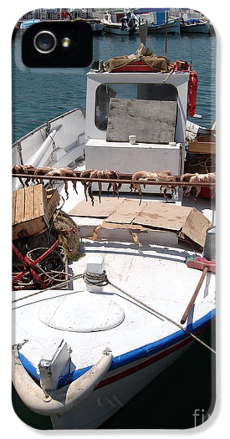 Aegean IPhone 5 Case featuring the photograph Fishing Boat With Octopus Drying by Jane Rix