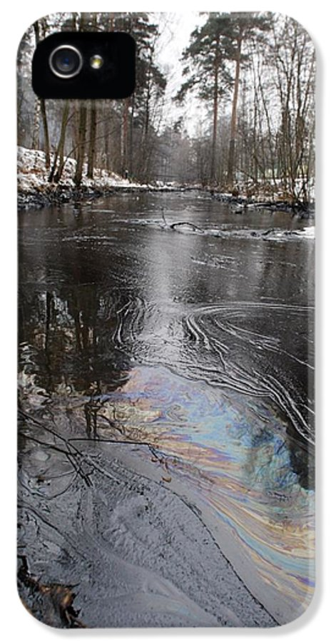 Pollution IPhone 5 Case featuring the photograph Fuel Oil Spill In A River by Ria Novosti