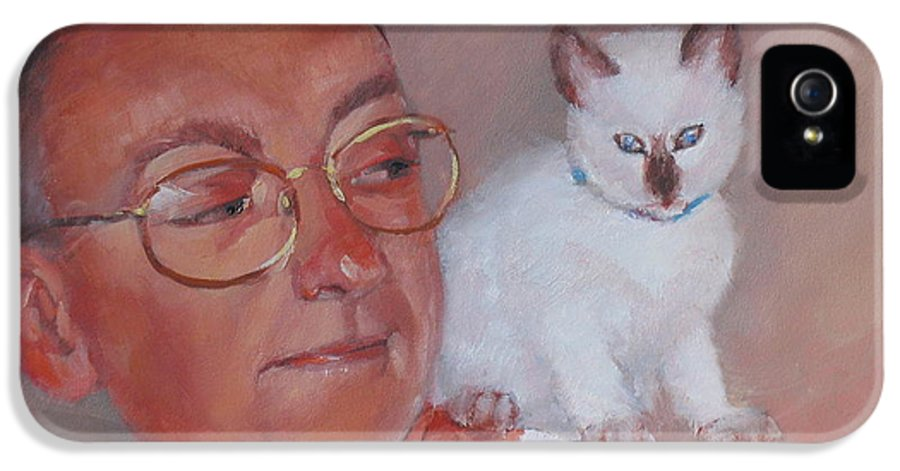 Portrait IPhone 5 Case featuring the painting George And Doc by Laura Lee Zanghetti