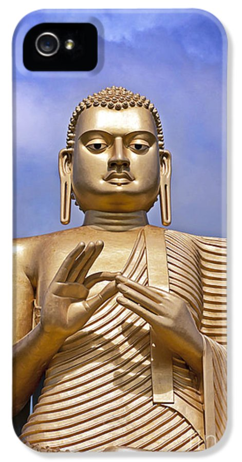 Ancient IPhone 5 Case featuring the photograph Giant Gold Bhudda by Jane Rix