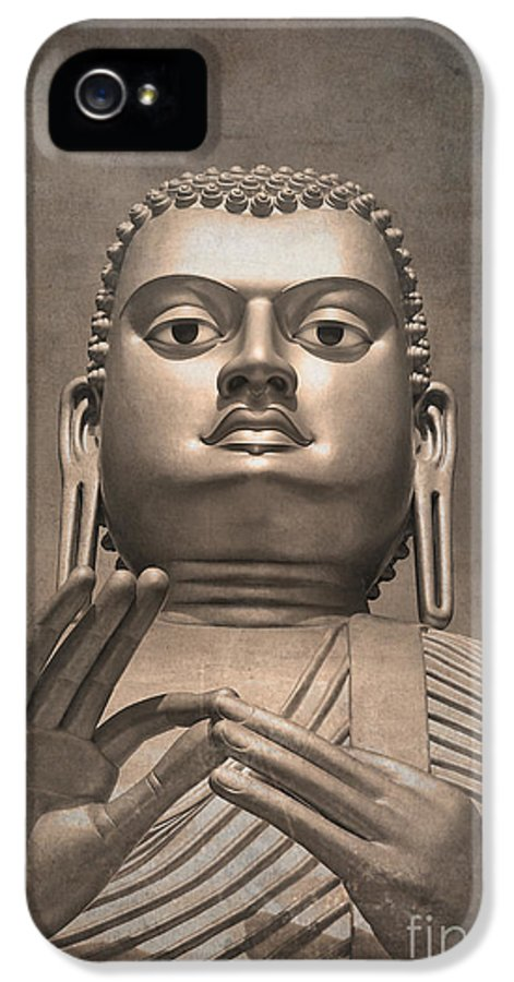 Ancient IPhone 5 Case featuring the photograph Giant Gold Buddha Vintage by Jane Rix