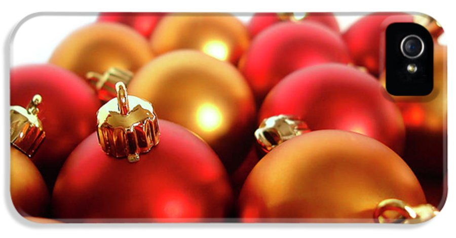 Ball IPhone 5 Case featuring the photograph Gold And Red Xmas Balls by Carlos Caetano