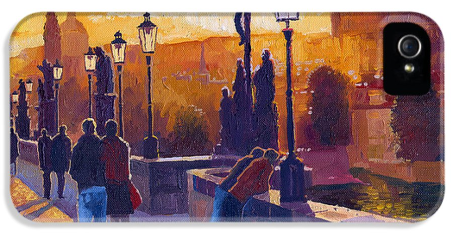 Oil On Canvas IPhone 5 Case featuring the painting Golden Prague Charles Bridge Sunset by Yuriy Shevchuk