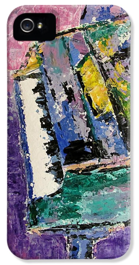 Music IPhone 5 Case featuring the painting Green Piano Side View by Anita Burgermeister