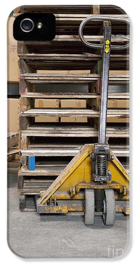 Business IPhone 5 Case featuring the photograph Hand Truck And Wooden Pallets by Shannon Fagan