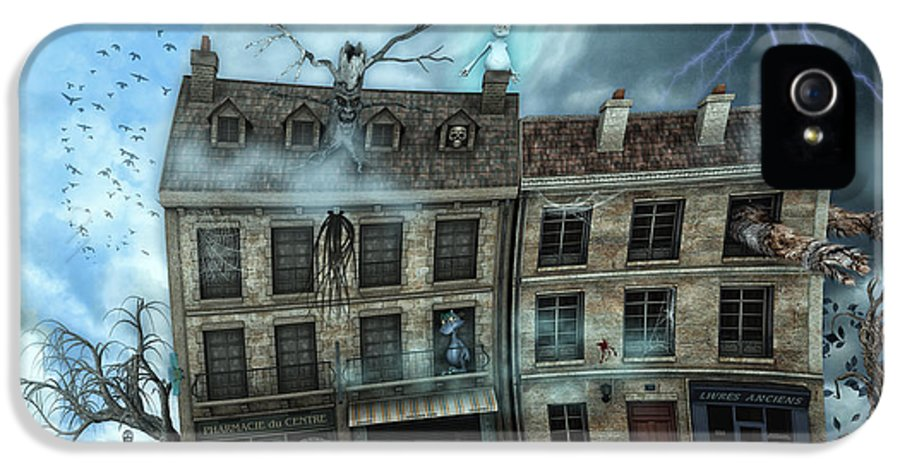 3d IPhone 5 Case featuring the digital art Haunted House by Jutta Maria Pusl