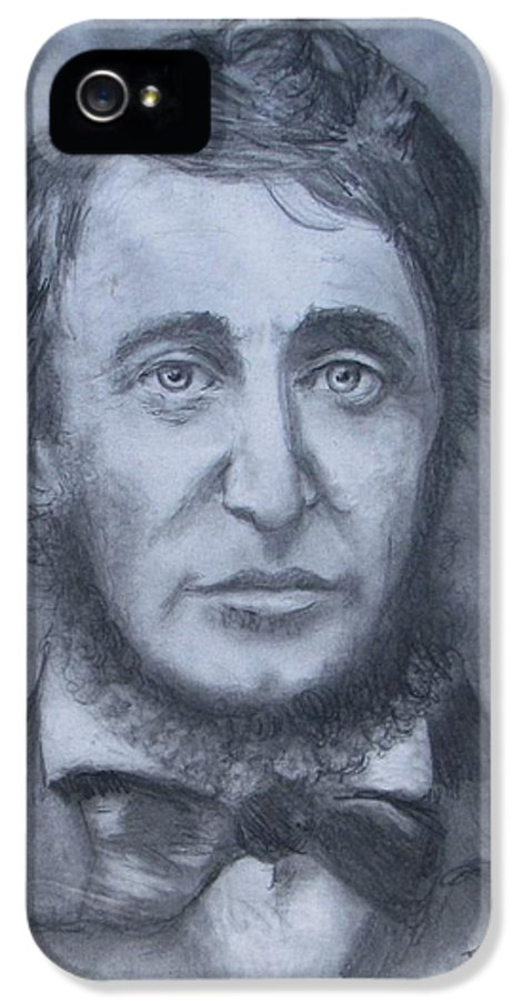 Henry David Thoreau IPhone 5 / 5s Case featuring the drawing Henry David Thoreau by Jack Skinner
