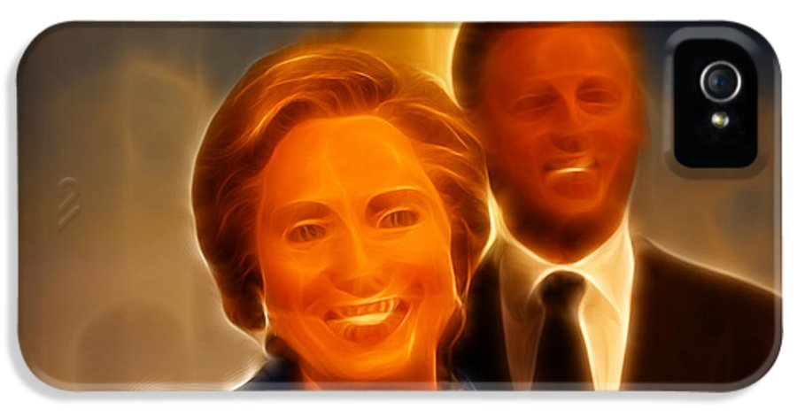 Lee Dos Santos IPhone 5 Case featuring the photograph Hillary Rodham Clinton - United States Secretary Of State - Bill Clinton by Lee Dos Santos